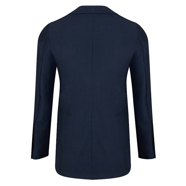 Blue English Wool Trevira Barchatta Blazer
