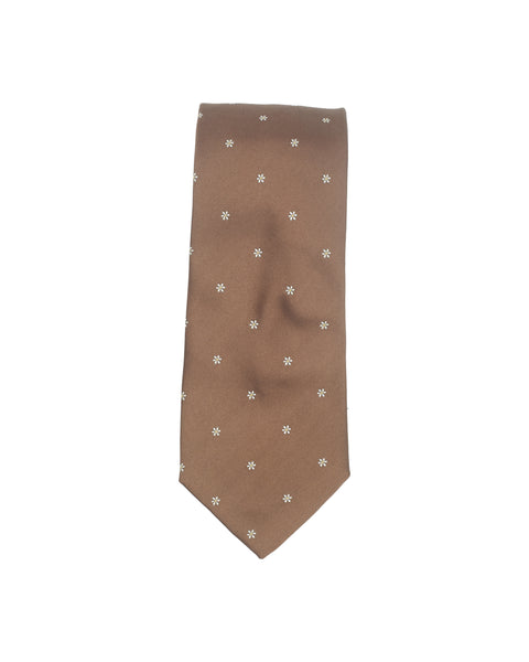 Flower Motif Silk Tie Chocolate