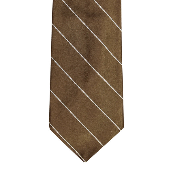 Single Stripe Mogador Silk Tie Chocolate