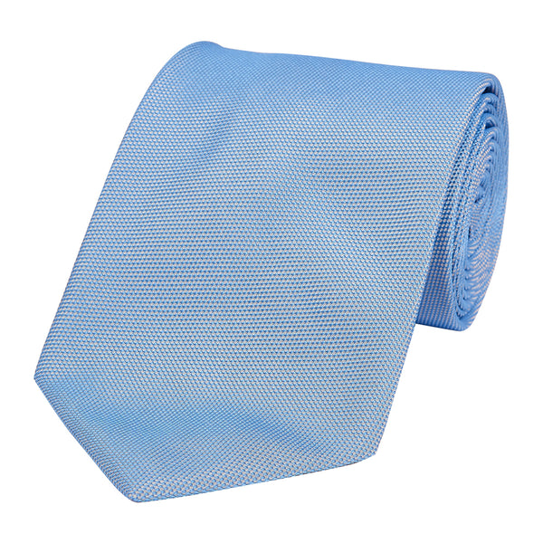 Plain Honeycomb Silk Tie Medium Blue