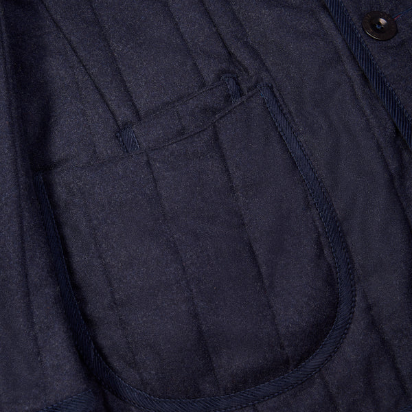 Quilted Austrian Loden Coat Navy