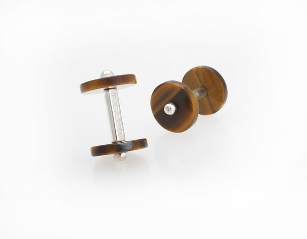 Disc Cufflinks Tiger's Eye