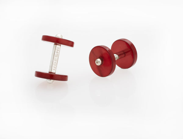 Disc Cufflinks Red Mother of Pearl