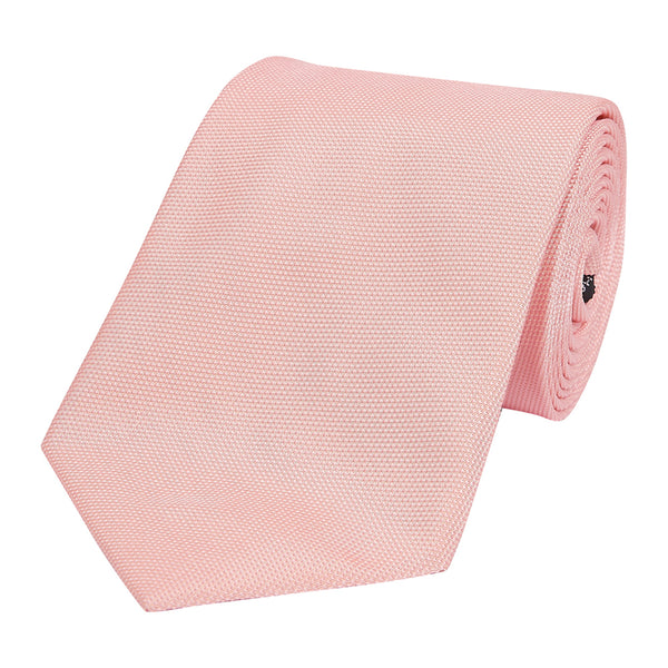 Plain Honeycomb Silk Tie Pink