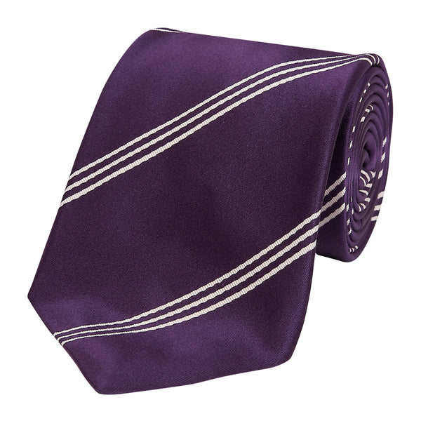 Triple Wide Stripe Mogador Silk Tie Purple