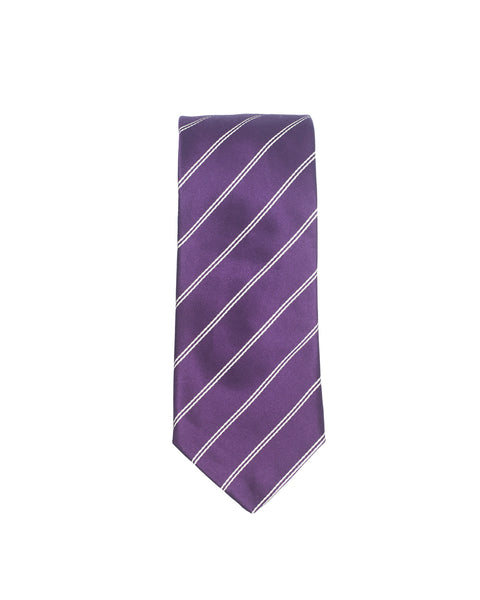 Double Stripe Mogador Silk Tie Purple