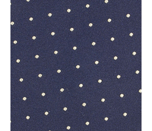 Satin Dot Silk Tie Navy