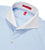 Extreme Cutaway Collar Shirt with Double Cuff in Blue Swiss Poplin