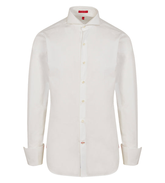 Extreme Cutaway Collar Shirt with Double Cuff in White Swiss Poplin