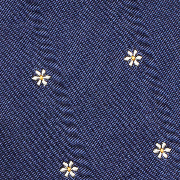 Flower Motif Silk Tie Navy