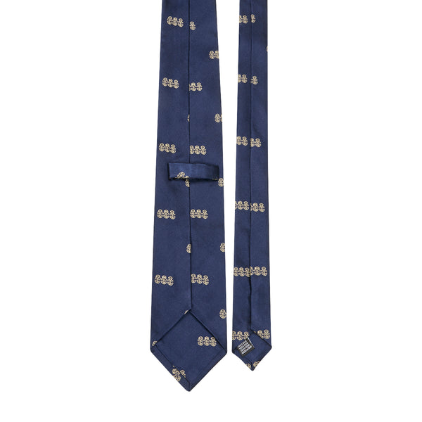 3 Monkeys Motif Silk Tie Navy