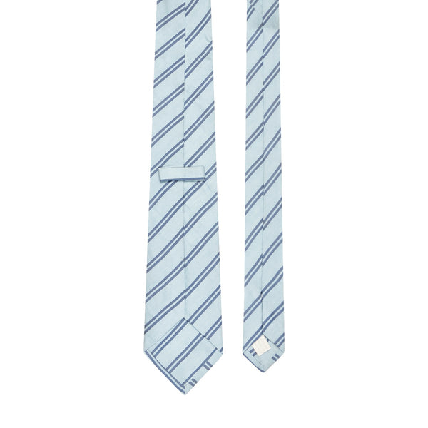Navy Double Stripe Silk Linen Tie