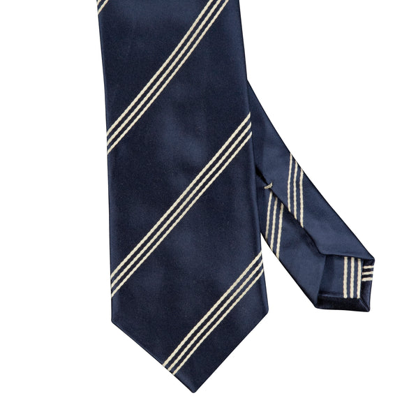 Triple Wide Stripe Mogador Silk Tie Navy