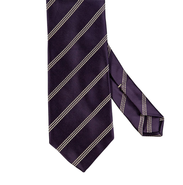 Triple Narrow Stripe Mogador Silk Tie Purple