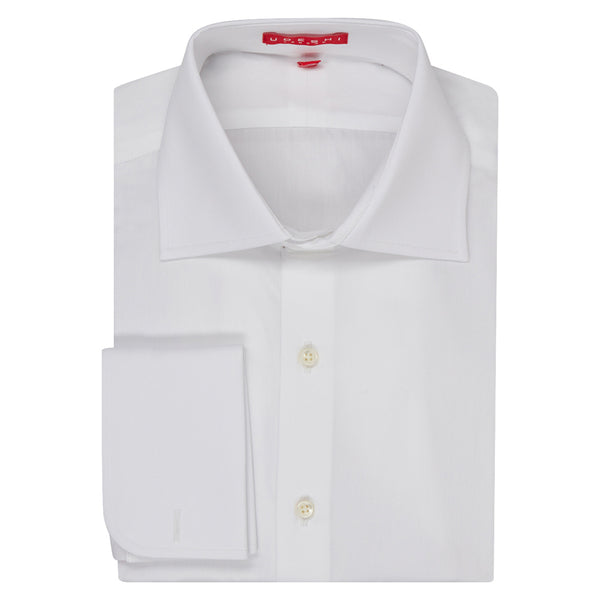Connery Collar Shirt with Double Cuff in White Swiss Poplin
