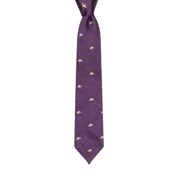 From Russia With Love Motif Silk Tie Purple