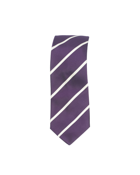 Satin Stripe Silk Tie Purple