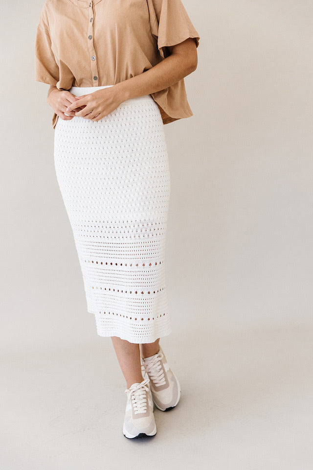 The Knit Midi Skirt in White