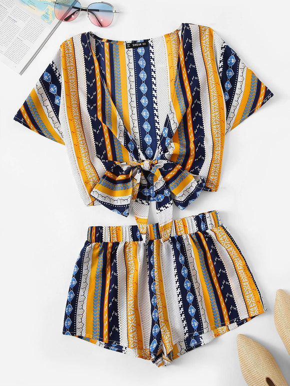 Geo Print Knot Plunging Top & Shorts Set