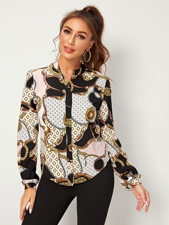 Scarf Print Button Front Blouse