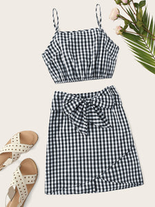 Crinkle Detail Gingham Cami Top & Bow Wrap Skirt Set