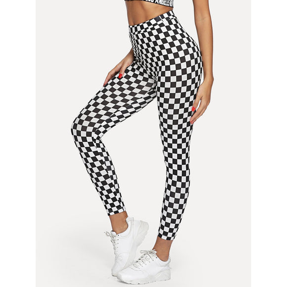 High Waist Plaid Skinny Leggings