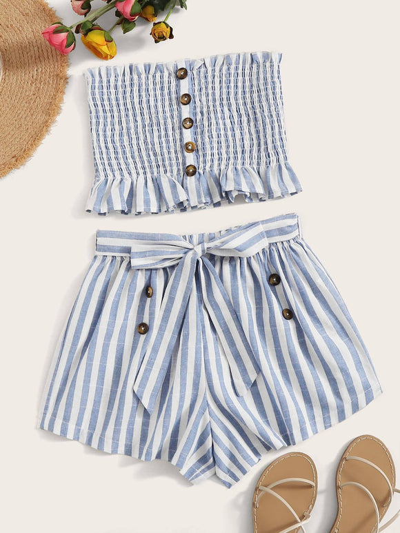 Button Front Frilled Shirred Bandeau and Belted Shorts Set
