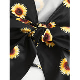 Sunflower Print Bow Tie Detail Frill Top With Shorts
