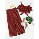 Polka Dot Flounce Trim Crop Cami Top & Pants Set