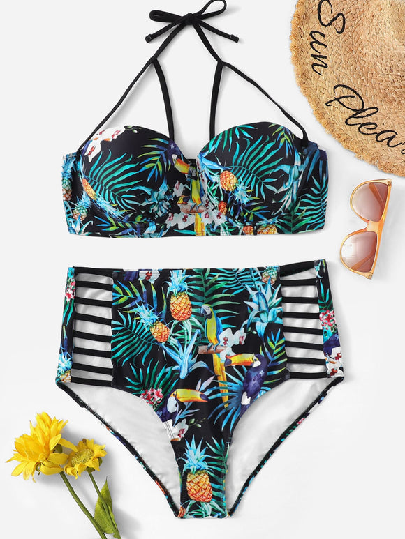 Plus Tropical Harness Top With Ladder Cut-out Bikini