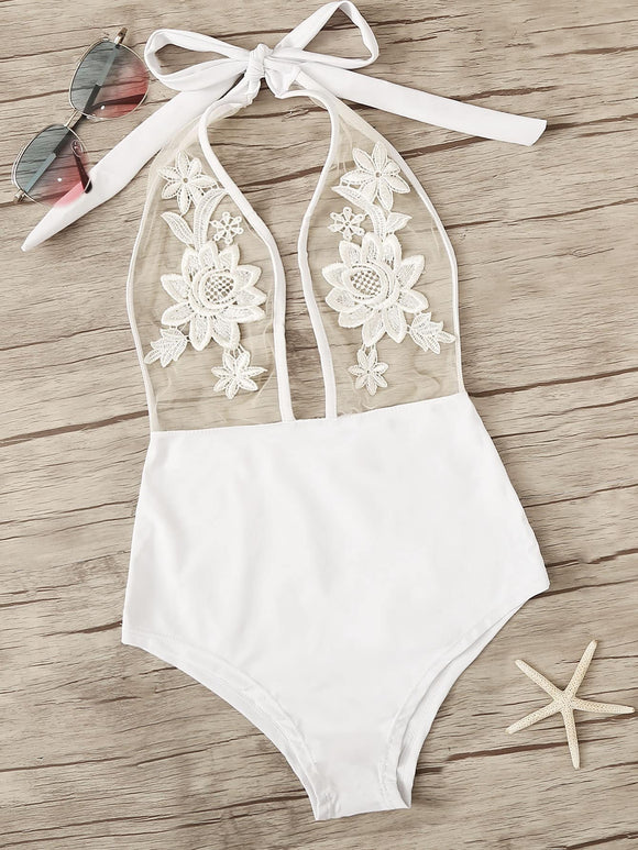 Contrast Mesh Embroidered One Piece Swimsuit