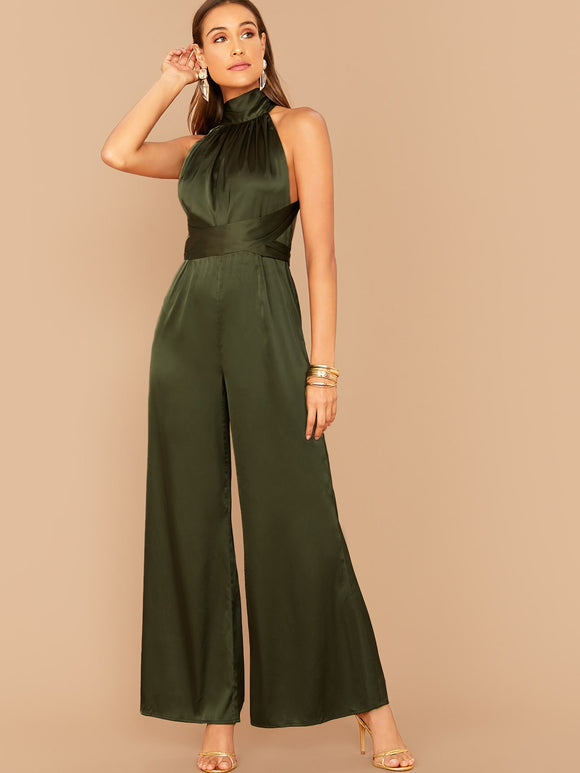 High Neck Crisscross Backless Palazzo Satin Jumpsuit