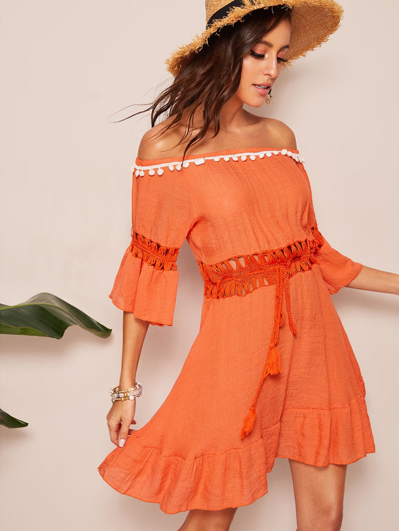 Pompom Patched Off Shoulder Lace Insert Dress