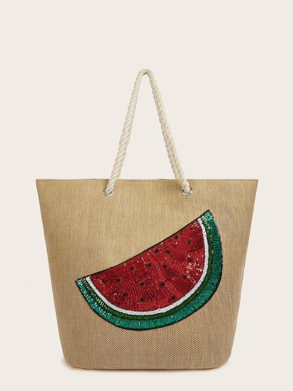 Sequin Watermelon Decor Straw Tote Bag