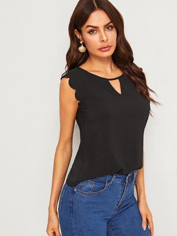 Cutout Neck Scalloped Armhole Shell Top