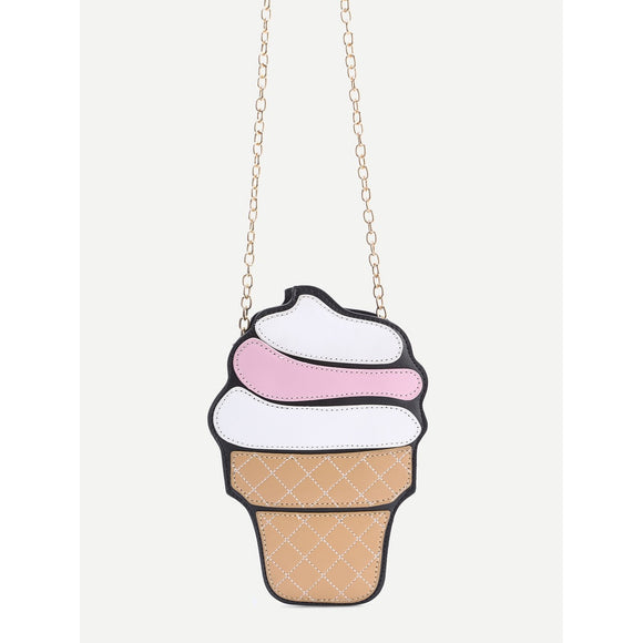 Ice Cream Shaped Crossbody Chain Bag