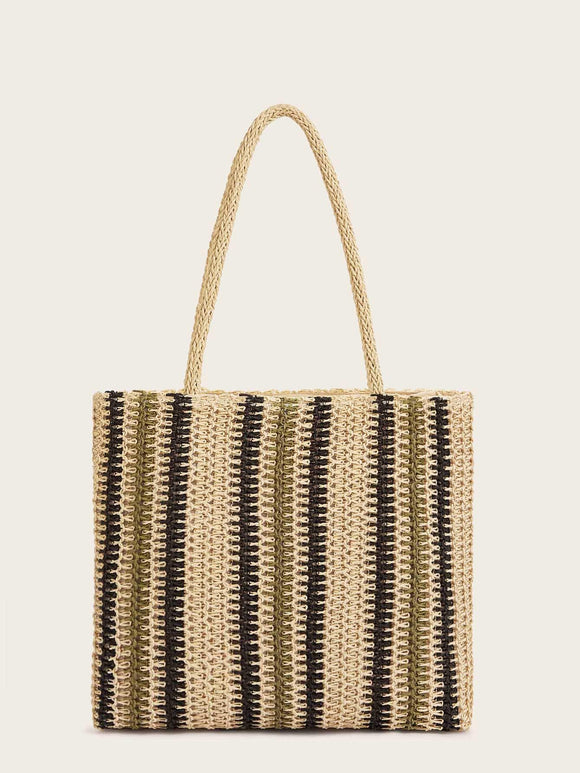 Plaited Tote Bag With Double Handle