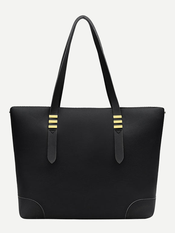 Striped Detail PU Tote Bag