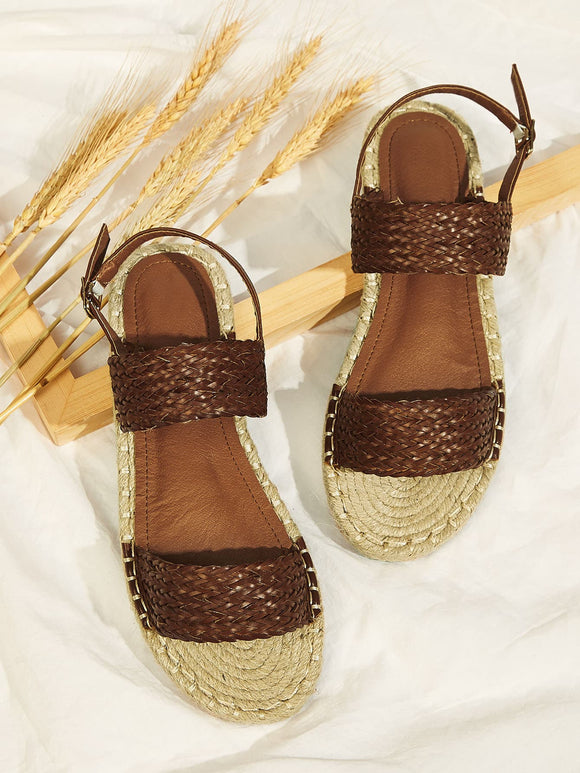 Open Toe Slingback Espadrille Sandals