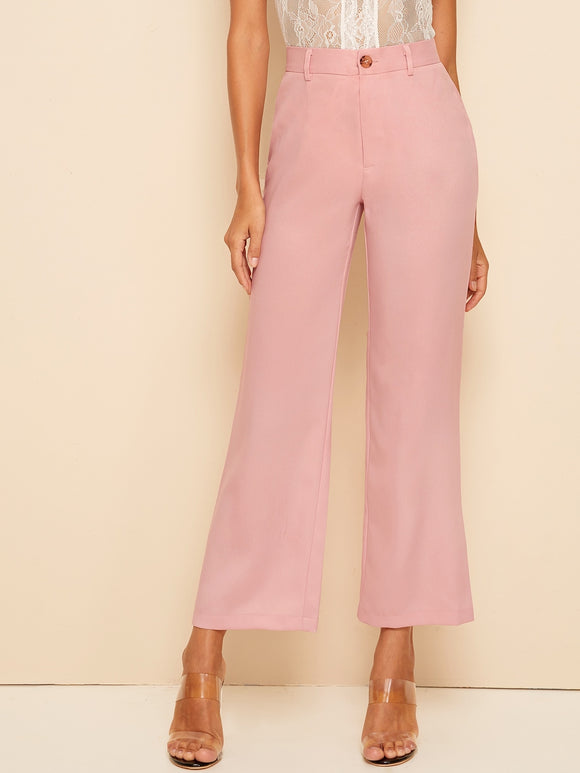 Solid High Waist Flare Leg Pants