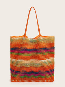 Rainbow Design Plaited Tote Bag