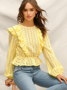 Ruffle Detail Embroidered Eyelet Peplum Top
