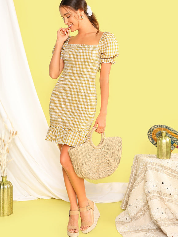 Gingham Ruffle Hem Shirred Bodycon Dress