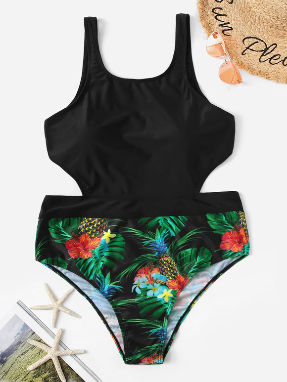 Plus Tropical Cut-out One Piece Swimsuit