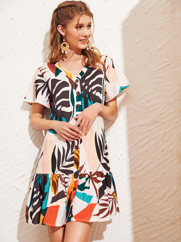 Tropical Print Button Front Ruffle Hem Dress