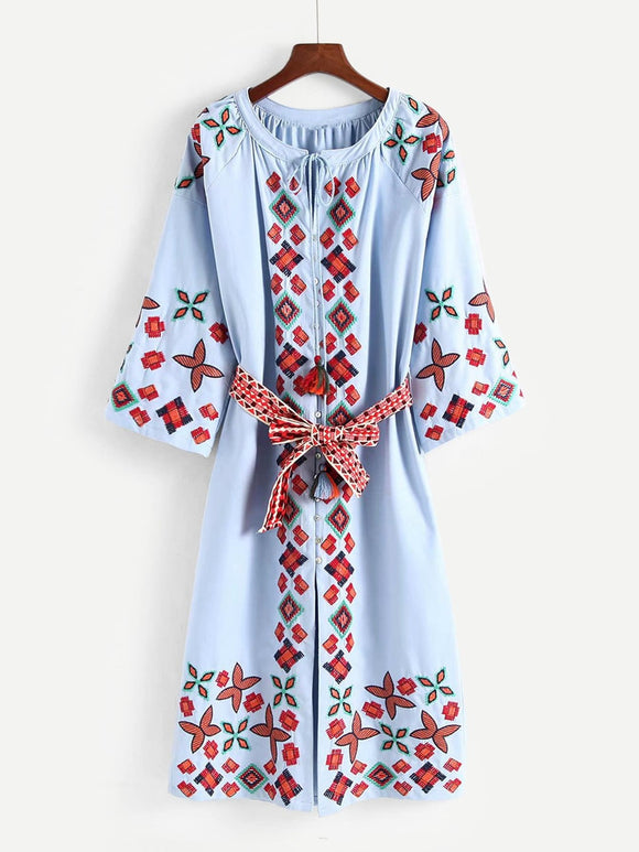 Tassel Tie Embroidered  Self Tie Dress