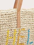 Letter Decor Braided Tote Bag