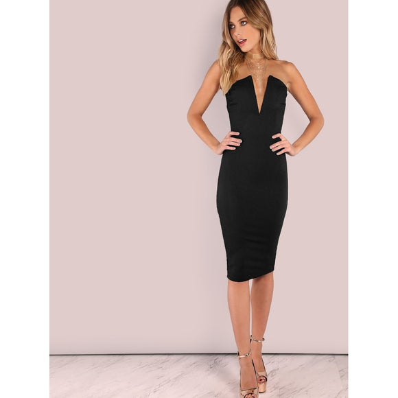 Plunging Bust Bandeau Bodycon Midi Dress