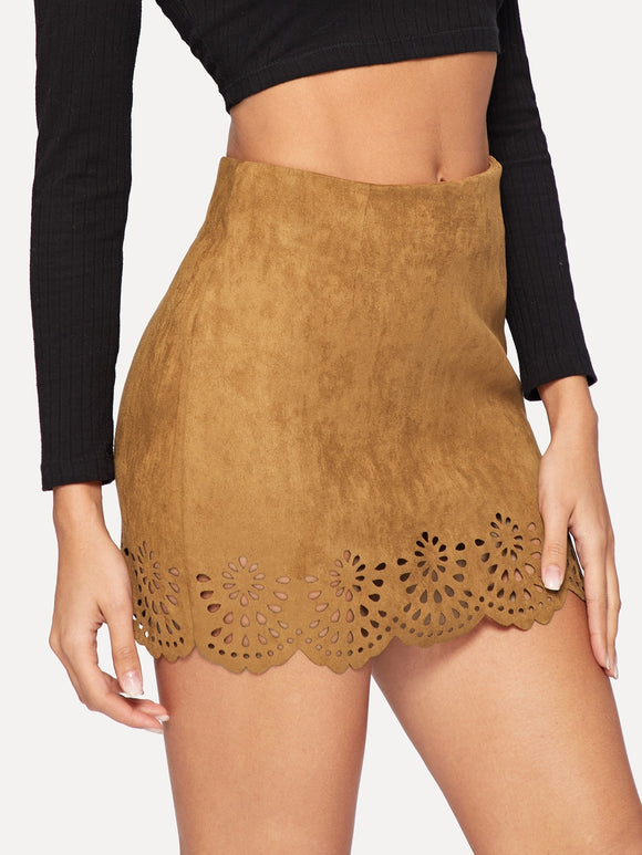 Solid Laser Cut Suede Skirt