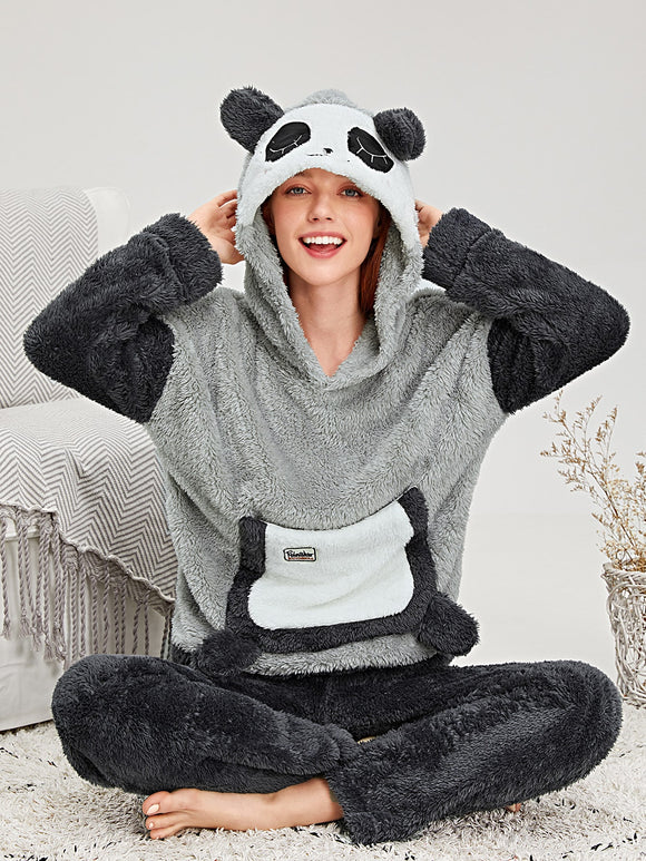 Panda Pattern Plush Hooded Pajama Set
